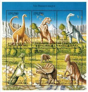 Madagascar 1999 - Dinosaurs Prehistoric Life - Sheet of 6 - Scott 1441 - MNH