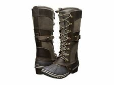 SOREL Conquest Carly Tall Waterproof Winter Leather Lace Camo Brown Duck Boots 7