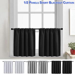 Blackout Short Curtains Window Drapes Panel Rod Pocket Heading Home Decoration