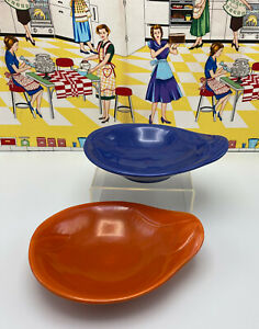 Red Wing Pottery Fondoso Relish Dishes Red Cobalt Blue Pear Shaped Bowls