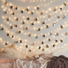 20-100 Photo Clips With LED String Light Hanging Picture Pegs Wedding Lamp Decor