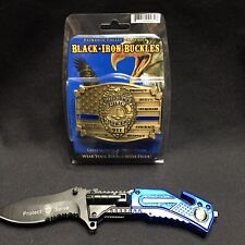 Police Black Iron Buckle Protect And Serve Knife New Law Enforcement Officer