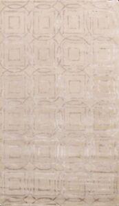 5x8 Contemporary Trellis Indian Area Rug Hand-tufted Wool/ Silk Kitchen Carpet