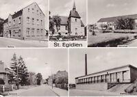 uralt AK St. Egidien Rathaus Oberschule Bahnhofstraße Klubhaus Kirche Erzgebirge