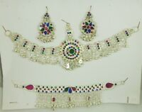 Complete Set Of kuchi Traditional Jewelry necklace Earrings Mathapatti Headpiece