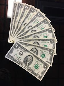US Rare $2 Notes Low Serial Numbers. Lightly Circulated