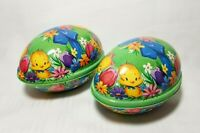 """Plastic Easter Eggs 5.5"""" Yellow Baby Chick Vintage Lithograph Holiday Decoration"""