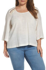 MELISSA MCCARTHY Top 3X White M7W7338 Embroidered Bell Sleeve Skimmer NWT NEW