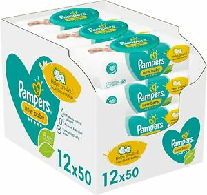 Pampers Baby Wipes Wet 99 Percent Pure Water Sensitive Pack of 600 Count 12 x 5