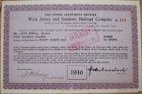 1916 Stock Allotment Certificate: 'West Jersey & Seashore Railroad Company'