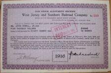 1916 Stock Allotment Certificate: 'West Jersey & Seashore Railroad Company'