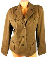 Chico's brown striped long sleeve regular size button down light jacket 1, M