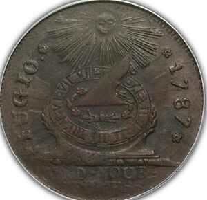 1787 Fugio Cent STATES UNITED, 4 Cinq PCGS MS60BN PCGS (Mind your business) lol