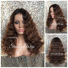 Light Brown Full Wig Dark Brown Roots Body Wave Long Layers Middle Part Heat Ok