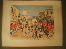 PARIS - Gde Litho - Place du Tertre à Montmartre -  Signée Chazaly - Numérotée.