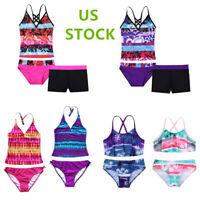 US Kids Girls Swimwear Tankini Set Bikini Swimsuit Surfing Beachwear Rash Guard