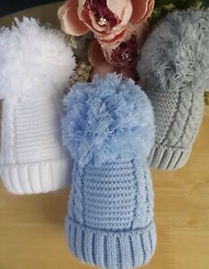 Baby Boy Girl Large Pom Pom White Blue Grey Knitted Cable Winter Hat 0-6-12m