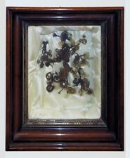 Antique Victorian Mourning Art.  Shadowbox with Hair Wreaths.