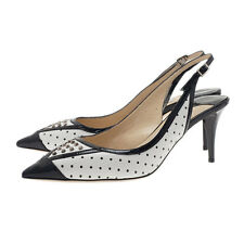 Jimmy Choo Dutch Pointed Toe Pump Blck White Leather Slingback Shoe 39.5 Studded