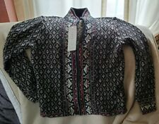 NOMADIC TRADERS Cardigan Sweater Top size Small Nordic Black Red Ramie Cotton