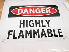 DANGER HIGHLY FLAMMABLE Sign, 10 x 14In, R and BK/WHT, ENG ALUM 1 PC (FS1311)