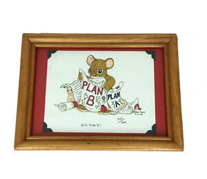 """Mouse Print """"On To Plan B'' Artwork Drawing By Dean Griff 340/400 5/11/98 Framed"""