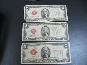 Lot of 3 US $2 banknotes 1928 D, F & G CIRCULATED