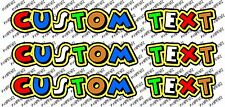 """3x valentino rossi style the doctor text  Custom decal stickers """"46"""" - your name"""
