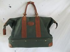 Orvis Battenkill green canvas leather large collapsible duffle weekender bag