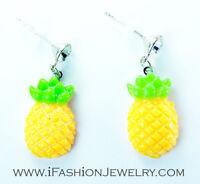 Pineapple TROPICAL Fruit Dangle Earrings Yellow HAWAI Food Drop Fashion Jewelry
