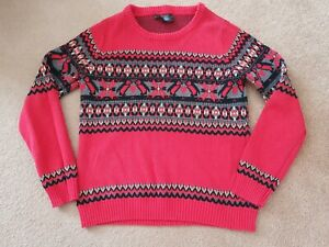 Ladies Size Medium Red Fairisle Jumper Sweatshirt vgc worn few times only xmas