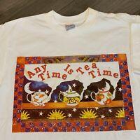 Tea Time T Shirt Mens Large Adult White Vintage 90s Tea Pot Sun Flowers Love USA