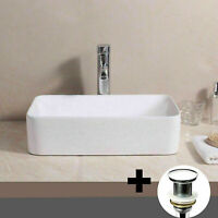 UK Modern Bathroom Countertop Rectangle Bowl Top Ceramic Basin Sink + Waste Plug