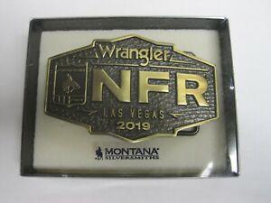 NFR Buckle 2019 Montana Silversmiths Wrangler Logo Cast Brass New in Box