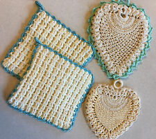 New listing Vintage Set of Four Hand Crocheted Decorative Pot Holders Gold Cream Green Blue