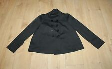 Black Fabric F & F Button Military Hip Length Casual Jacket Blazer Size 14 / 42