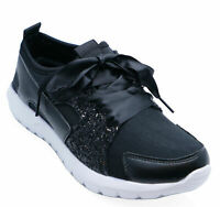 WOMENS LIGHTWEIGHT FLAT BLACK DIAMANTE TRAINERS PUMPS CASUAL SHOES SIZES 3-8