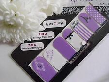 Nail Art Self Adhesive Full Nail Polish Wrap Sticker Lilac Bow Tower Lace Decal