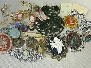 Cameos//Pins,Brooches,//Metal,Resin 40 PER LOT Costume Jewelry