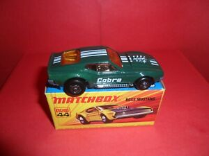 Matchbox Sup/fast #44-Boss Mustang/Green Cobra,Nr Mint In Nr Mint Orig Box,1970s