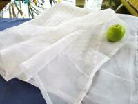 """Vintage Philippine Pina Linen Organdy 42"""" Tablecloth Embroidered Bridal Topper"""