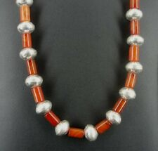 Old Mercury Silver Dime and Carnelian Beads Native Necklace