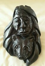 Handmade? (TBM) Solid Plaster? Sculpture of Old Lady(American Indian) Bear black