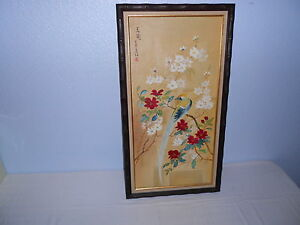 Signed Japanese Painting White & Red Blossoms and Blue Bird Painting Wood Frame