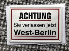 Blechpostkarte, 14,5 x 10 cm, BERLIN, West-Berlin verlassen, wie neu, top -13-