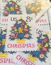 10 Vintage Christmas Stamps.Decorated Christmas Tree.