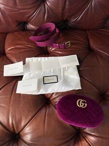 $1575 GUCCI PURPLE VELVET + LEATHER QUILTED CHEVRON MARMONT MATELASSE BELT BAG