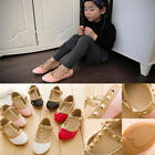 Pretty Girls Kids Princess Sandals Rivet Buckle T-strap Flat Dance Shoes 16 Size