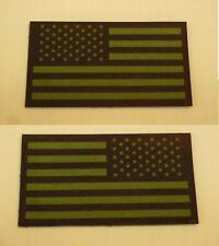 """USA FLAG GRN ON BLK PCX PATCH SET 1FWD 1REV 3.5""""x2"""" WITH VELCRO® BRAND FASTENER"""