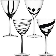 LSA Jazz Wine Glass / Goblet - Assorted Black - Set of 4